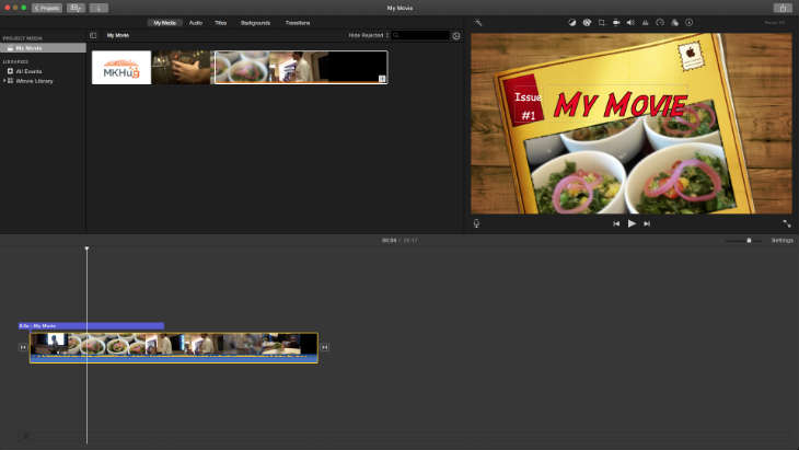 A screenshot of iMovie free video editing software
